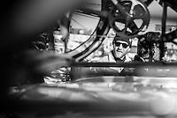 Pictures by Russell Ellis/SWpix.com - 10/04/2016 - Cycling - Paris-Roubaix - France - Paris-Roubaix 2016 - A Team Sky mechanic before the race
