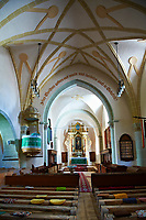 Interior of the medieval fortified church of Harman. A Romaneque church started in 1240 by the Cistercian monks with elements of Gothic  architecture .Harman, Braşov, Transylvania. UNESCO World Heritage Site.