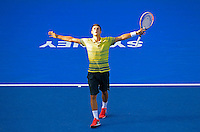Bernard Tomic of Australia reacts after defeating Sergiy Stakhovsky of Ukranie during their semi-final match at the Sydney International tennis tournament, Jan. 10, 2014.  Daniel Munoz/Viewpress IMAGE RESTRICTED TO EDITORIAL USE ONLY