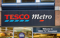 Tesco Metro Store Sign, London, Britain - Aug 2013.