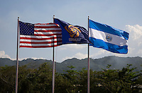 Flags of the particapting nationals fly over the stadium during the quarterfinals of the CONCACAF Men's Under 17 Championship at Catherine Hall Stadium in Montego Bay, Jamaica. The USA defeated El Salvador, 3-2, in overtime.