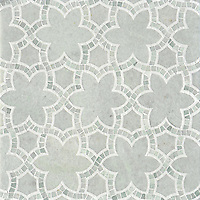 Reina, a natural stone waterjet and hand cut mosaic shown in Ming Green and Thassos polished, is part of the Miraflores Collection by Paul Schatz for New Ravenna Mosaics.