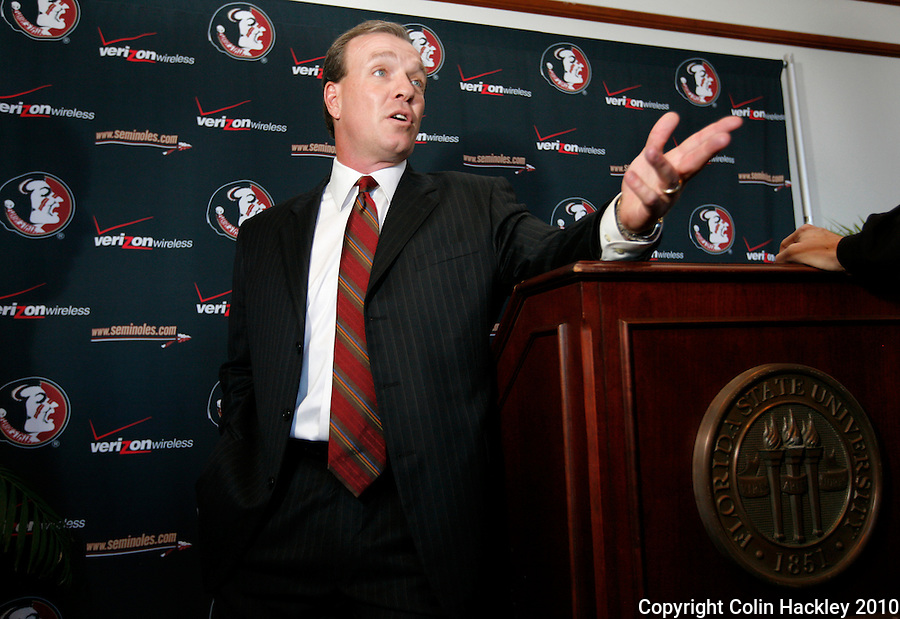 TALLAHASSEE, FLA. 1/6/10-FISHER 010610 CH19-Jimbo Fisher talks about his new job as head coach of the Florida State University football team, Wednesday after a news conference in Tallahassee...COLIN HACKLEY PHOTO