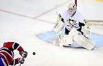 6 February 2010: Pittsburgh Penguins' goaltender Marc-Andre Fleury makes a second period save on the Montreal Canadiens at the Bell Centre in Montreal, Quebec, Canada. The Canadiens defeated the Penguins 5-3. Mandatory Credit: Ed Wolfstein Photo