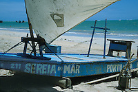 Fishing raft called jangada at Porto da Rua beach, Alagoas, Brazil.