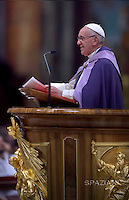 Pope Francis confesses during the penitential celebration in St. Peter's Basilica at the Vatican City, on March 4, 2016.