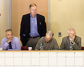 Jack Parker (BU - Head Coach) (far left) watched part of the game upstairs with Mike Geragosian (BU - Assistant Coach) and USA Hockey's Ben Smith and Tim Taylor. - The Boston University Terriers defeated the visiting University of Toronto Varsity Blues 9-3 on Saturday, October 2, 2010, at Agganis Arena in Boston, MA.