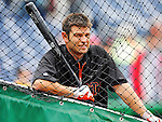 1 May 2011: San Francisco Giants infielder Freddy Sanchez awaits his turn in the batting cage prior to a game against the Washington Nationals at Nationals Park in Washington, District of Columbia. The Nationals defeated the Giants 5-2. Mandatory Credit: Ed Wolfstein Photo