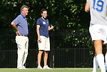 24 August 2008: Duke head coach Robbie Church (left) with assistant coach Carla Overbeck. The Duke University Blue Devils defeated the Coastal Carolina University Lady Chanticleers 9-0 at Koskinen Stadium in Durham, North Carolina in an NCAA Division I Women's college soccer game.