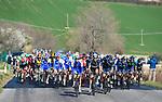 The peloton in action during Stage 6 of the 2017 Tirreno Adriatico running 168km from Ascoli Piceno to Civitanova Marche, Italy. 13th March 2017.<br /> Picture: La Presse/Fabio Ferrari | Cyclefile<br /> <br /> <br /> All photos usage must carry mandatory copyright credit (&copy; Cyclefile | La Presse)