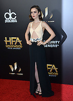 BEVERLY HILLS, CA. November 6, 2016: Actress Lily Collins at the 2016 Hollywood Film Awards at the Beverly Hilton Hotel.<br /> Picture: Paul Smith/Featureflash/SilverHub 0208 004 5359/ 07711 972644 Editors@silverhubmedia.com