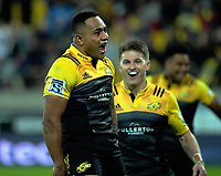 Ngani Laumape celebrates his second try during the Super Rugby match between the Hurricanes and Stormers at Westpac Stadium in Wellington, New Zealand on Friday, 5 May 2017. Photo: Dave Lintott / lintottphoto.co.nz