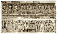 Bas relief feeze above the door of the Baptistry of Pisa Duomo, Italy