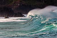 A big hollow wave about to break at Waimea Shorebreak in Waimea Bay, North Shore, O'ahu.