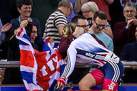Picture by Alex Whitehead/SWpix.com - 03/03/2016 - Cycling - 2016 UCI Track Cycling World Championships, Day 2 - Lee Valley VeloPark, London, England - Great Britain's Laura Trott wins Gold in the Women's Scratch final, celebrates with her parents.