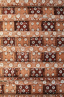 Detail of ceiling, 1st floor of Harem, Tash Khauli Palace, 1830-38, Khiva, Uzbekistan, Khiva, Uzbekistan, pictured on July 6, 2010, in the morning. Commissioned by Allah Kuli Khan the Tash Kauli palace is a huge complex containing 163 rooms which took its architects, Tajiddin and Kalandar, 10 years to build. The harem, occupying about half of the palace has 5 aiwan terraces, with delicately carved wooden pillars,  behind which were the quarters for the khan and his wives. Khiva, ancient and remote, is the most intact Silk Road city. Ichan Kala, its old town, was the first site in Uzbekistan to become a World Heritage Site(1991). Picture by Manuel Cohen.