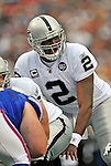 21 September 2008: Oakland Raiders' quarterback JaMarcus Russell in action against the Buffalo Bills at Ralph Wilson Stadium in Orchard Park, NY. The Bills rallied for 10 unanswered points in the 4th quarter to defeat the Raiders 24-23...Mandatory Photo Credit: Ed Wolfstein Photo