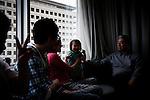 """Tokyo, April 20 2011 - .(eng) Yoshiyuki Miyazawa looking at his granddaughter playing. """"There is nothing more important than health. I know what happened in Tchernobyl. I wrote several letters to TEPCO to ask them about the radioactivity level in our place and if it could be dangerous for our children..I had no answer. I don't trust the government. They didn't measure the level in our neighborhood, probably because it's too high. I would like them to go and measure in each house.""""..(fr) Yoshiyuki Miyazawa regarde jouer sa petite fille Keima. """"Il n'y a rien de plus important que la sante, je sais ce qui s'est passe a Tchernobyl. J'ai ecrit plusieurs lettres a TEPCO pour leur demander quel etait le niveau de radiocativite chez nous et si cela peut representer un danger pour nos enfants. Elles sont restees sans reponse. Je ne fais pas confiance non plus au gouvernement, ils n'ont pas mesure le niveau dans notre quartier, certainement parceque c'est trop haut. Je voudrais qu'ils aillent mesurer dans chaque maison."""""""
