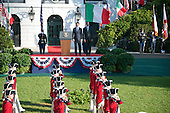 United States President Barack Obama host an arrival ceremony at the start of an Official Visit in honor of Prime Minister Matteo Renzi and Mrs. Agnese Landini of Italy on the South Lawn of the the White House in Washington, DC on Tuesday, October 18, 2016. <br /> Credit: Ron Sachs / CNP