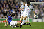 Rangers v St Johnstone....08.11.06   CIS Cup Quarter Final.Sasa Papac tackles Martin Hardie..Picture by Graeme Hart..Copyright Perthshire Picture Agency.Tel: 01738 623350  Mobile: 07990 594431
