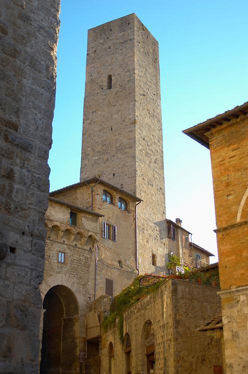Medieval Tower around entrance - San Gimignano - Italy