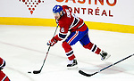26 October 2009: Montreal Canadiens' defenseman Jaroslav Spacek starts a rush during the third period against the New York Islanders at the Bell Centre in Montreal, Quebec, Canada. The Canadiens defeated the Islanders 3-2 in sudden death overtime for their 4th consecutive win. Mandatory Credit: Ed Wolfstein Photo