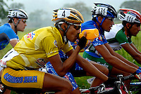 (Left to right) Daan Kuntjes (Holland), Paul Torres (Government of Zulia), Rodolfo Camacho (Kino Tachira) and Oscar Luna (Iandere Diamonds) compete in stage eight of the annual Vuelta al Tachira cycling race in Tachira, Venezuela on Saturday, Jan. 12, 2008. Local and international teams will ride over 1580 kilometers and climb a 1500 meter altitude differential throughout the competition. The grueling, 13-stage race through the Andes mountains is hailed as the premier cycling event in South America.