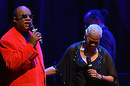 February 26, 2013  (Washington, DC)  Grammy Award winning artist Stevie Wonder singing on stage with Dionne Warwick after he received the CBCF 2013 Distinguished Individual Award at the Howard Theatre. (Photo by Don Baxter/Media Images International)