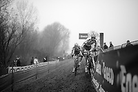 Yorben Van Tichelt (BEL/Sunweb-Napoleon Games/U23) making a steering error but keeping it straight<br /> <br /> Flandriencross Hamme 2014