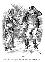"An Appeal. India. ""I have found the men, Sahib!—Why should I find the money too?"" John Bull. ""Pon my word, my dear, I really don't see why you should!"""