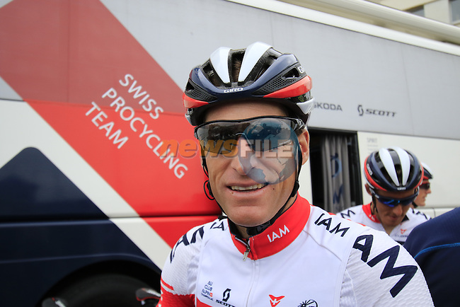 Martin Elmiger (SUI) IAM Cycling outside the team bus before the start of Stage 3 of the 2016 Tour de France, running 223.5km from Granville to Angers, France . 4th July 2016.<br /> Picture: Eoin Clarke | Newsfile<br /> <br /> <br /> All photos usage must carry mandatory copyright credit (&copy; Newsfile | Eoin Clarke)