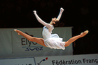 Anna Bessonova of Ukraine split leaps with ribbon during gala exhibition at 2006 Thiais Grand Prix in Paris, France on March 26, 2006.  (Photo by Tom Theobald)
