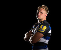 Max Northcote-Green poses for a portrait in the 2015/16 home kit during a Bath Rugby photocall on September 8, 2015 at Farleigh House in Bath, England. Photo by: Patrick Khachfe / Onside Images