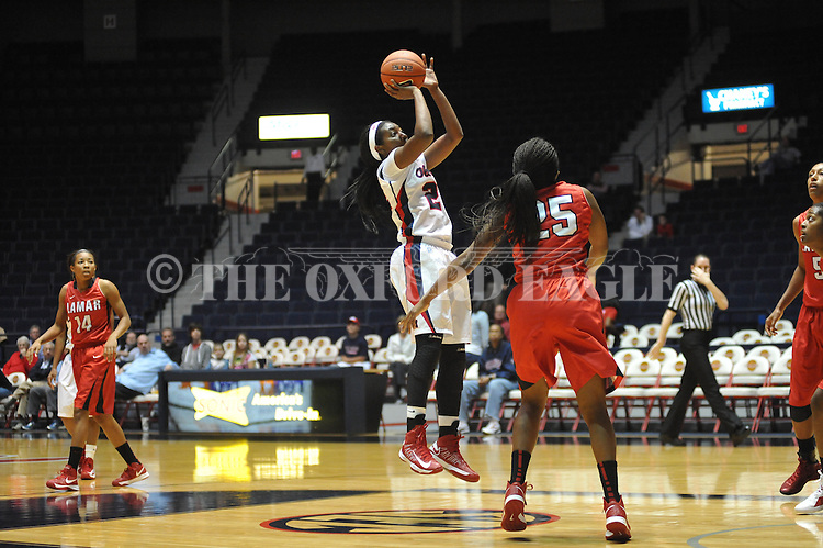 Ole Miss' Danielle McCray (22) vs. Lamar's Dominique Edwards (25) in women's college basketball at the C.M. &quot;Tad&quot; Smith Coliseum in Oxford, Miss. on Monday, November 19, 2012.  Lamar won 85-71.