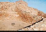 Metate Mealing Stone, Reconstructed Pueblo Walls, Central Rooms and Citadel, Tuzigoot Sinagua Pueblo, Tuzigoot National Monument, Verde Valley, Arizona