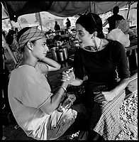 Shirat Ayam Settlement, Gaza strip Israel, Aug. 2005 .Hundreds of supporters came from the West bank to every Gaza settlements to try and oppose their evacuation. Sarah and Roni.