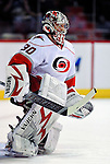 31 March 2010: Carolina Hurricanes' goaltender Cam Ward warms up prior to a game against the Montreal Canadiens at the Bell Centre in Montreal, Quebec, Canada. The Hurricanes defeated the Canadiens 2-1 in their last meeting of the regular season. Mandatory Credit: Ed Wolfstein Photo