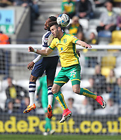 Preston North End's Daniel Johnson jumps with Norwich City's Ivo Pinto<br /> <br /> Photographer Mick Walker/CameraSport<br /> <br /> The EFL Sky Bet Championship - Preston North End v Norwich City - Monday 17th April 2017 - Deepdale - Preston<br /> <br /> World Copyright &copy; 2017 CameraSport. All rights reserved. 43 Linden Ave. Countesthorpe. Leicester. England. LE8 5PG - Tel: +44 (0) 116 277 4147 - admin@camerasport.com - www.camerasport.com