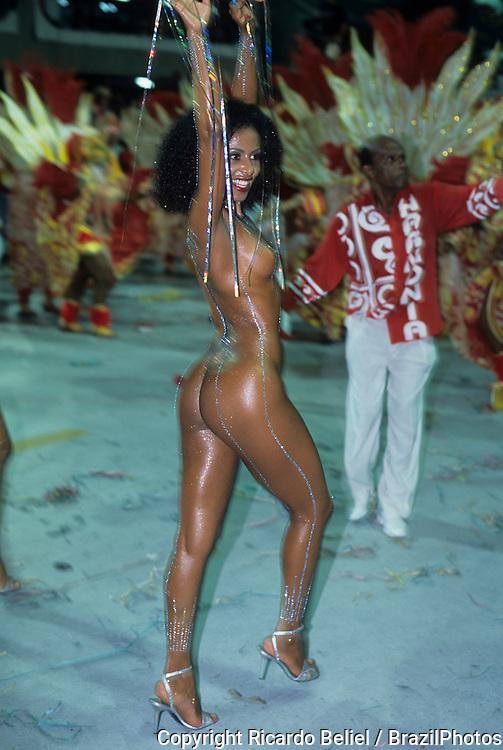 (EDITORS NOTE: Image contains nudity.) -  Valeria Valenssa, former Mulata Globeleza, Samba Schools Parade, Rio de Janeiro, Brazil.