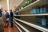 "Bare shelves because of Hurricane Sandy at a supermarket in New York on Sunday, October 28, 2012. In advance of the arrival of Hurricane Sandy New York will down the subways at 7 PM on Sunday and evacuate low lying ""Zone A"" areas including Battery Park City. In addition the schools will be closed on Monday. (© Richard B. Levine)"