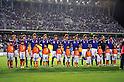 Japan team group line-up (JPN), SEPTEMBER 21, 2011 - Football / Soccer : Japan players (L-R) Hiroshi Kiyotake, Gotoku Sakai, Hiroki Sakai, Daisuke Suzuki, Keigo Higashi, Yuya Osako, Genki Haraguchi, Takahiro Ogihara, Mizuki Hamada, Shuichi Gonda and Kazuya Yamamura line up before the 2012 London Olympics Asian Qualifiers Final Round Group C match between U-22 Japan 2-0 U-22 Malaysia at Tosu Stadium in Saga, Japan. (Photo by Jinten Sawada/AFLO)