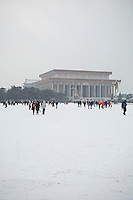 The Mao's mausoleum on the Tiananmen square, after a snowfall that local authorities say they have artifically provoked to fight the exceptional drought in northern China. February 10 2011