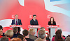 Ed Miliband <br /> leader of the Labour Party <br /> speech at RIBA Royal Institute of British Architecture, London, Great Britain <br /> 29th April 2015 <br /> General Election Campaign 2015 <br /> <br /> <br /> Ed Miliband with Ed Balls and Rachel Reeves <br /> <br /> <br /> Photograph by Elliott Franks <br /> Image licensed to Elliott Franks Photography Services