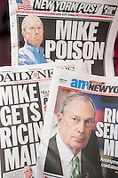 Front pages of the NY Daily News, AM New York and the NY Post on Thursday, May 30, 2013 report an envelope containing the poison ricin being sent to New York Mayor Michael Bloomberg.  (© Richard B. Levine)