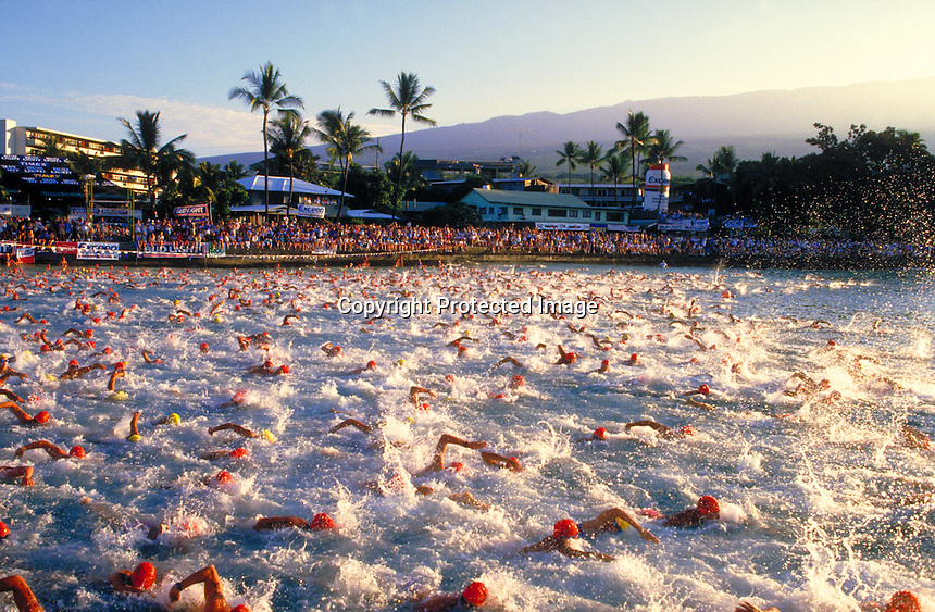 Start of Ironman Triathlon, Kona, Hawaii.Photo by Chris Covatta
