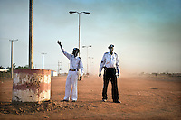 Traffic police in Bentiu. South Sudan.