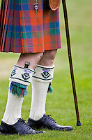 Dirk knife tucked into man's sock at the Braemar Games Highland Gathering, Scotland, UK