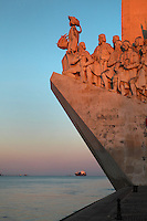 Padrao dos Descobrimentos or Monument to the Discoveries, on the Tagus river estuary, Santa Maria de Belem, Lisbon, Portugal. The monument was built 1958-60, replacing an earlier monument built for the 1940 Portuguese World Fair, to celebrate the golden age of Portuguese exploration. The monument opened on the 5th centennial of the death of Henry the Navigator and features 33 statues of figures from the exploration age led by Henry the Navigator holding a model carrack. Picture by Manuel Cohen
