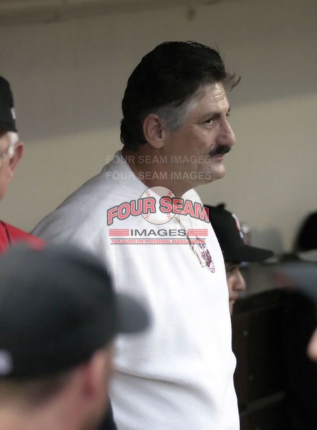 August 30, 2004:  Hall of Fame pitcher Rollie Fingers during an appearance with the Rochester Red Wings, Triple-A International League affiliate of the Minnesota Twins, before a game at Frontier Field in Rochester, NY.  Photo by:  Mike Janes/Four Seam Images