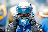Mar 18, 2017; Gainesville , FL, USA; NHRA funny car driver Tommy Johnson Jr during qualifying for the Gatornationals at Gainesville Raceway. Mandatory Credit: Mark J. Rebilas-USA TODAY Sports